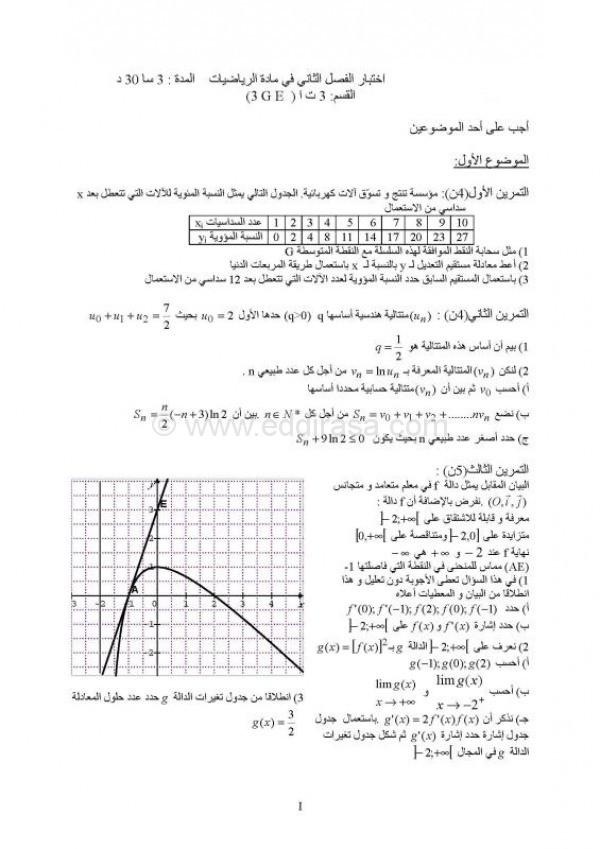 اختبار الفصل 2 رياضيات 3AS تسيير و اقتصاد 5 4791421