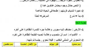 تصحيح مقترح موضوع اللغة العربية شهادة التعليم الإبتدائي 2016