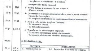 تصحيح موضوع اللغة الفرنسية 2015 لشهادة التعليم الابتدائي