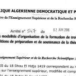 Arrêté 547 fixant les modalités d'organisation de la formation du 3éme cycle