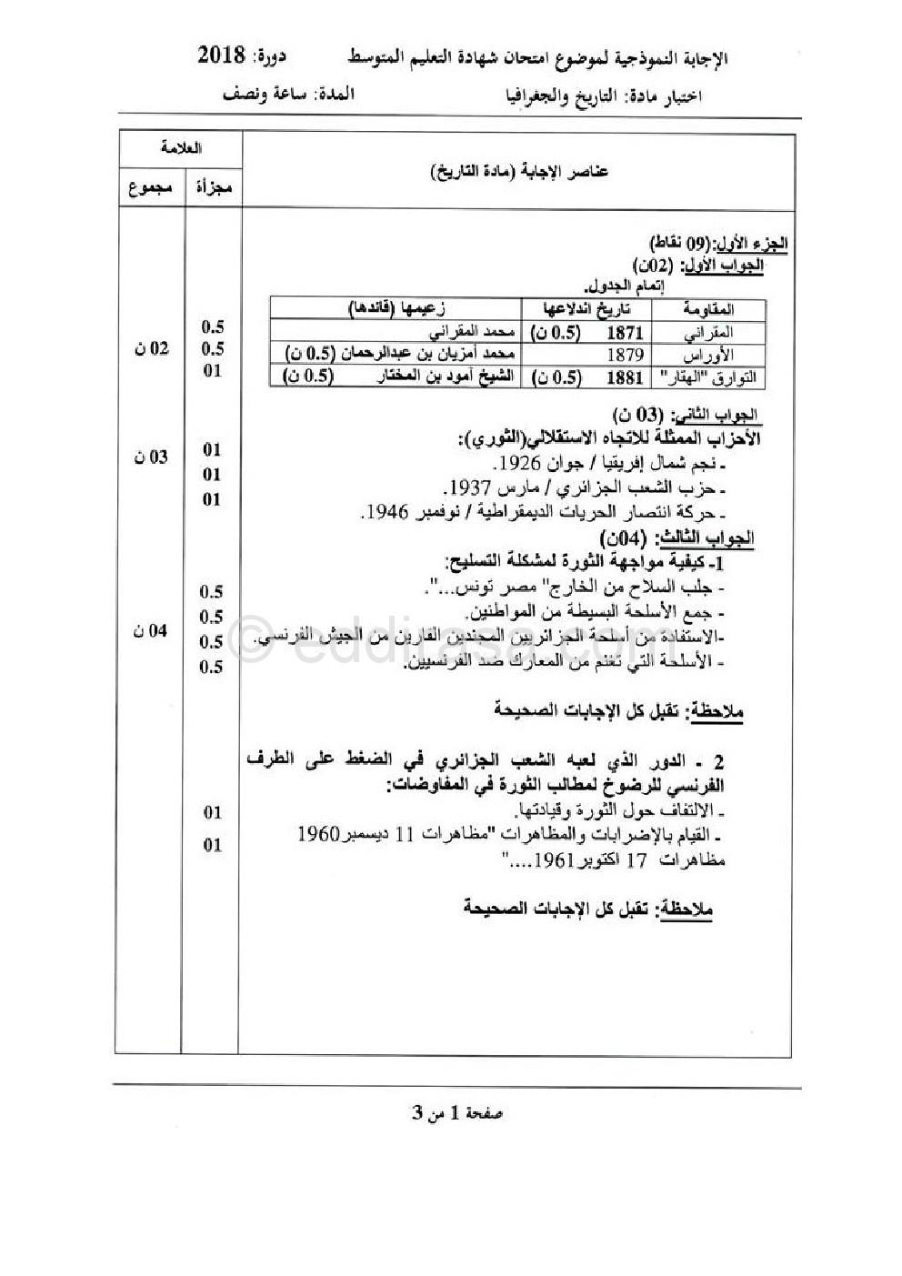 امتحان شهادة تعليم المتوسط التاريخ و الجغرافيا 2018 0001
