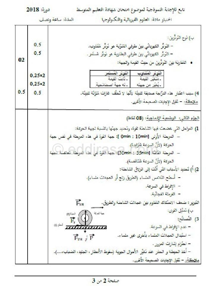 امتحان شهادة تعليم المتوسط الفيزياء 2018 0002-4